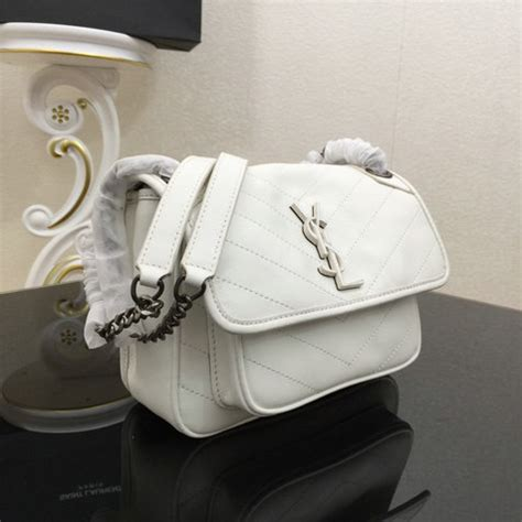 saint laurent baby niki chain bag  white crinkled  quilted leather