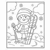 Coloring Winter Sports Cartoon Outline Skis sketch template
