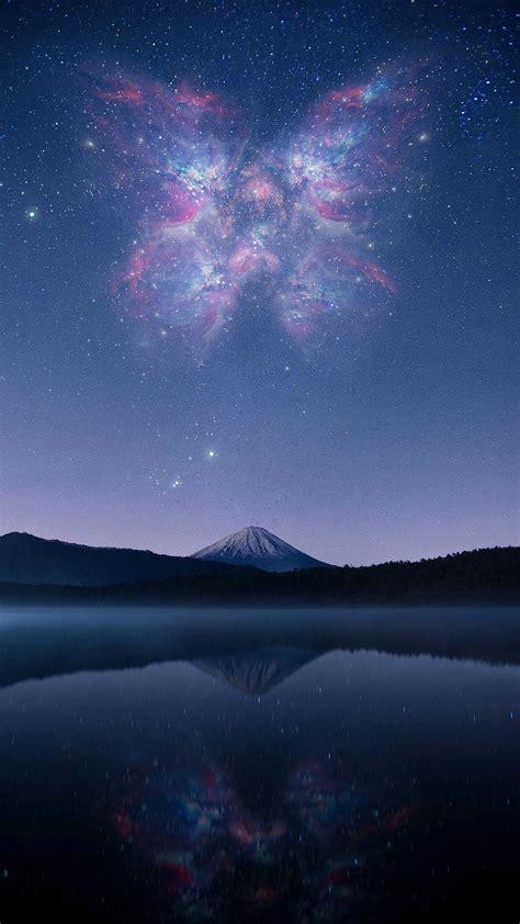 mount fuji lake night stars iphone wallpaper iphone