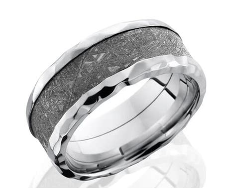 men s flat profile hammered cobalt gibeon meteorite ring unique titanium rings more