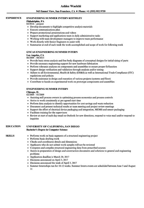 engineering summer intern resume sles velvet