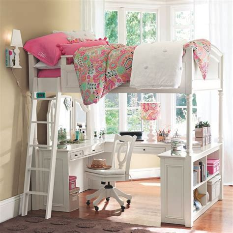 pottery barn loft bed with desk chelsea vanity loft bed
