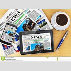 Tablet Computer, Smartphone And Newspapers Royalty Free
