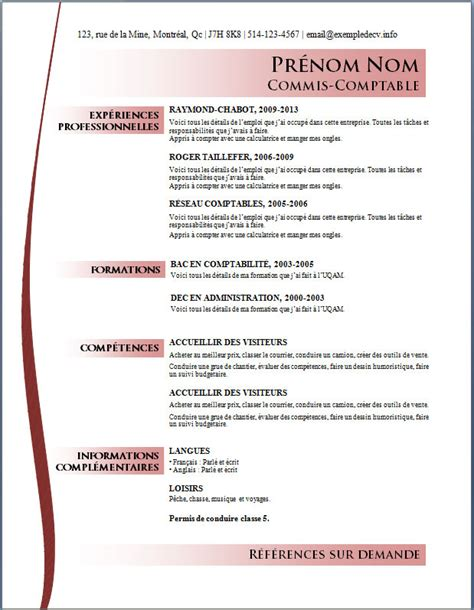 Des Exemples De Cv Word by Mod 232 Les Et Exemples De Cv 550 224 556 Exemple De Cv Info