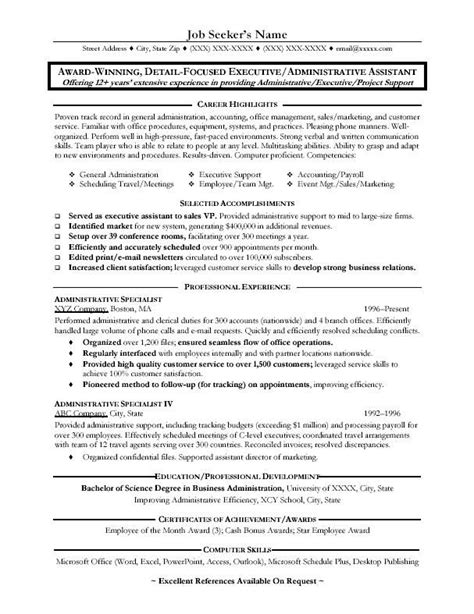 Exle Of Administrative Assistant Resume by 10 Best Images About Resume On Professional