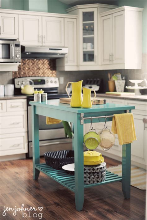 turquoise kitchen island remodelaholic trending now color in the kitchen