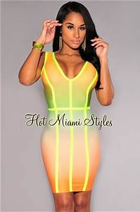 Neon Ombre Trim Elastic Dress