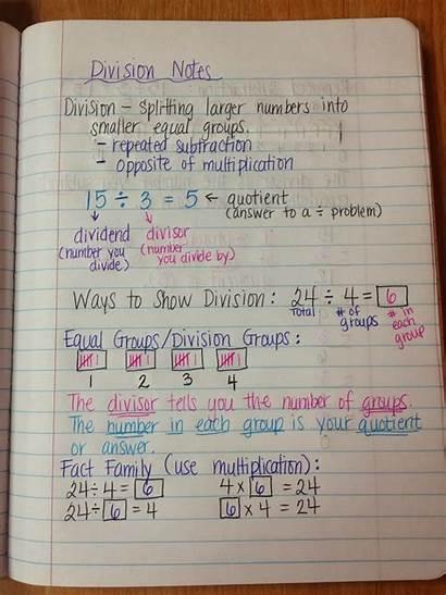 Notes Division Math Grade Teacher 4th 9th