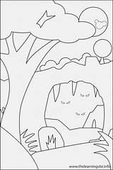Cave Coloring Bear Landform Hill Template Outline Landforms Templates Nature sketch template