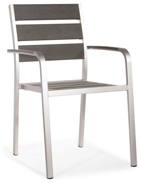 zuo modern township armchair in brushed aluminum modern