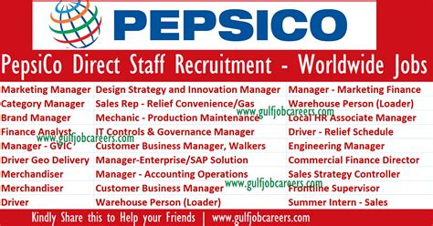 Pepsico Direct Staff Recruitment