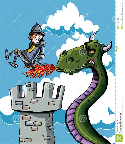 cartoon knight burnt     dragon stock photo
