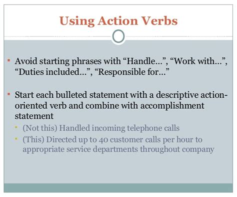 Oriented Verbs For Resumes by Resume And Cover Letter 101