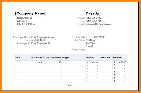 pay slip templates technician salary slip