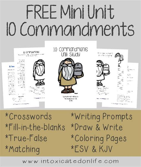 commandments mini unit study freebie  pages