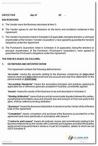 contract for the sale of business as a going concern With contract for sale of business template