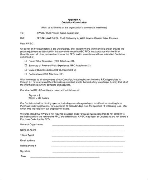 cover letter  sending quotation price letter format