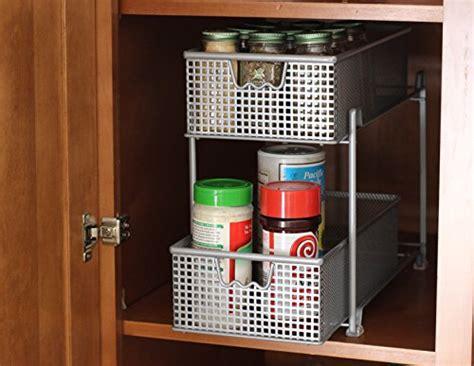 sliding baskets for kitchen cabinets decobros 2 tier mesh sliding cabinet basket organizer 7980