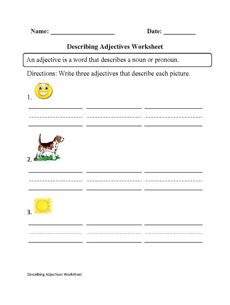 printable adjective worksheets 6th grade word meaning
