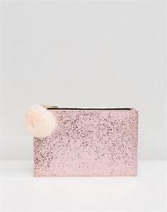 Pochette Rose Gold : skinnydip skinnydip rose gold glitter clutch bag with faux fur pom ~ Teatrodelosmanantiales.com Idées de Décoration