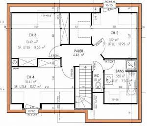 plan de maison a etage 4 chambres With plan maison 4 chambres etage