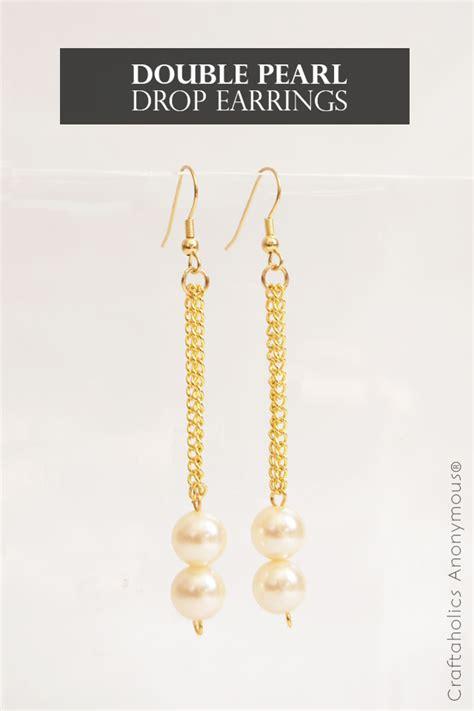 craftaholics anonymous diy double pearl drop earrings