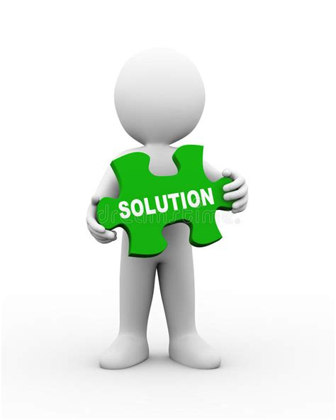 Solution Clipart 3d Holding Solution Puzzle Stock Illustration