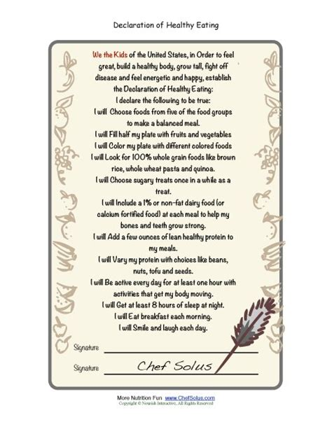 chef solus declaration  healthy eating pledge sheet