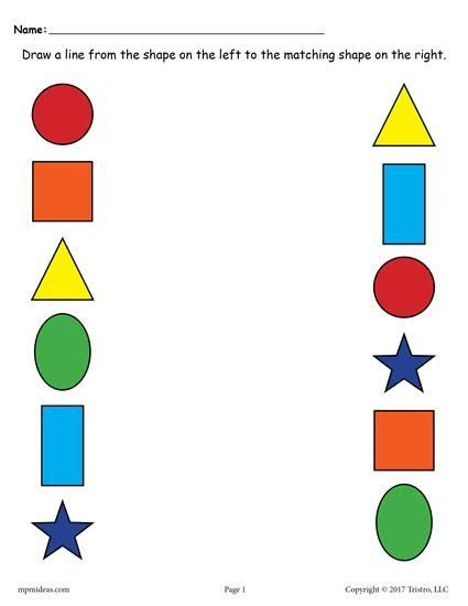 6 free shapes matching worksheets shapes worksheets