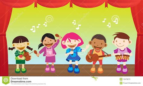 preschool performance songs kid performing stock illustration illustration of 482