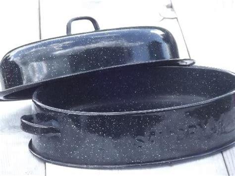 vintage savory jr junior roasting pan graniteware enamel chicken roaster