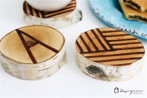 diy coasters  wood slices kaleidoscope living