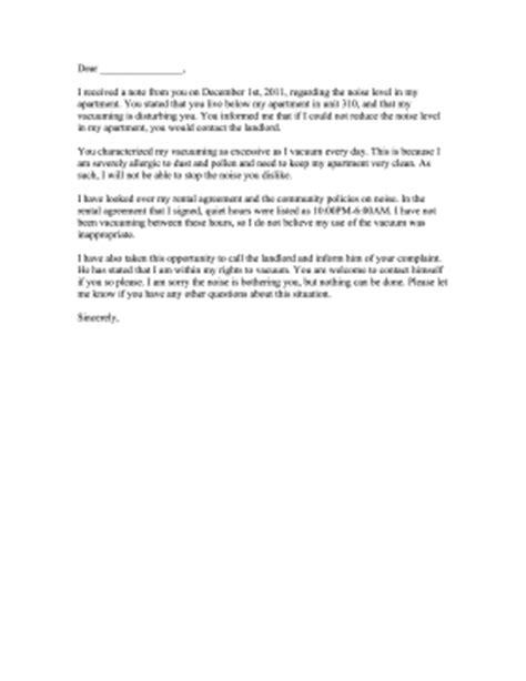 noise complaint letter response