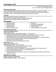resume sles for rns in term care unforgettable perioperative resume exles to stand