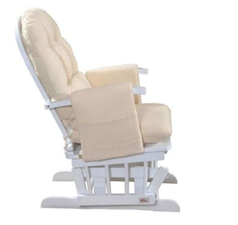 a deluxe reclining nursing rocking chair white wood and