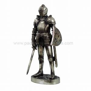 Medieval Knight in Suit of Armor with Sword and Shield