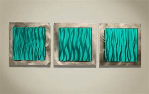 Wall art ideas design teal turquoise metal