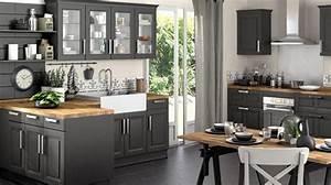 Cuisine Blanche Plan De Travail Gris : plan de travail cuisine gris anthracite cuisine blanche et ~ Melissatoandfro.com Idées de Décoration