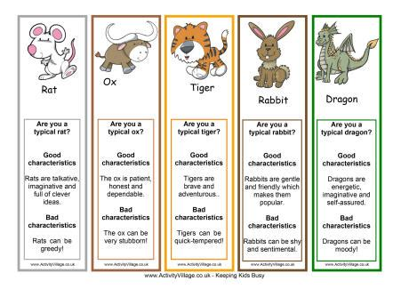 chinese zodiac bookmarks