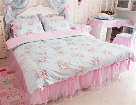 shabby chic king bedding sets king queen full twin princess shabby floral chic blue duvet comforter cover set ebay