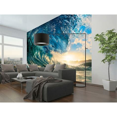 bedroom wall ls home depot ideal decor 144 in w x 100 in h the perfect wave wall