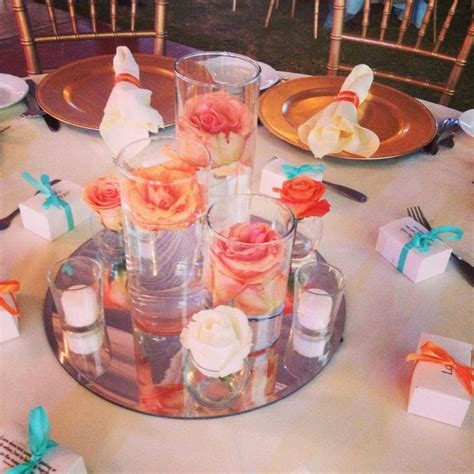 coral color decorations for wedding 25 best ideas about teal wedding centerpieces on