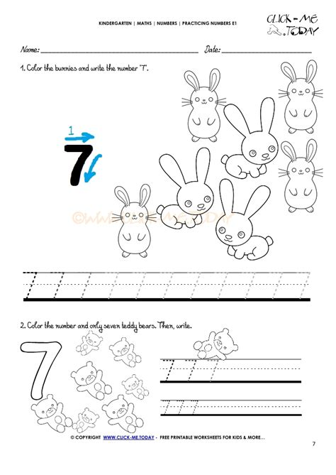 Tracing Numbers Worksheets  Number 7