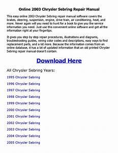 2003 Chrysler Sebring Repair Manual Online By Nkouedjo