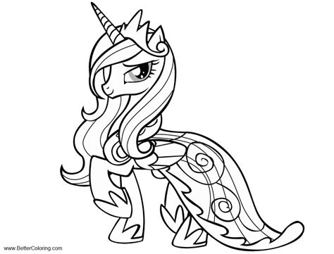 pony alicorn coloring pages princess cadence