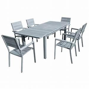 Salon Gris Et Bois : table de jardin aluminium gris spa amiens sonails ~ Melissatoandfro.com Idées de Décoration