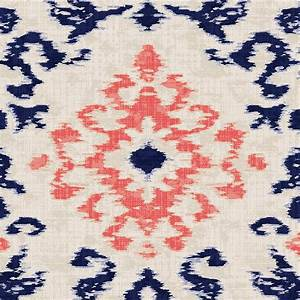 Navy and coral ikat damask fabric by the yard coral for Ikat fabric coral