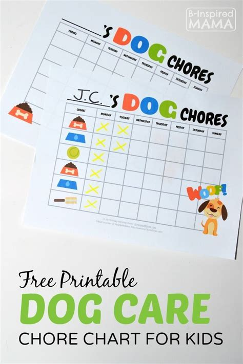 printable dog care chore chart  kids dog care  family  chore chart  kids