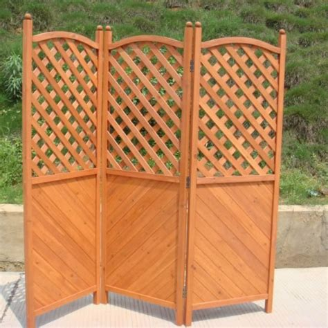 wooden garden folding screening fencing with 3 hinged panels