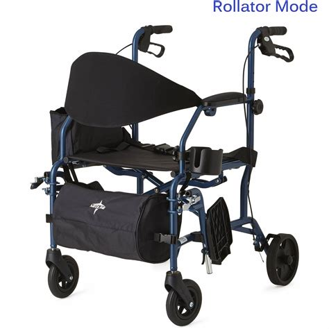 medline combination rollator transport chair blue the